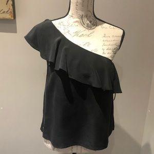 Maeve silk one-shoulder blouse